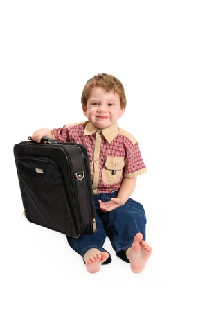 The boy with a case on a white background Stock Photo