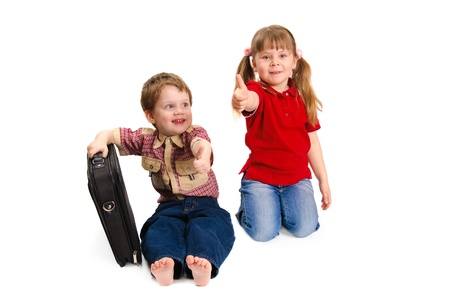 Children with thumbs up on a white background photo