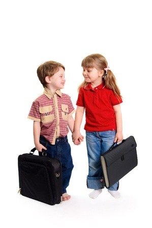 The boy and the girl keep for hands on a white background Stock Photo