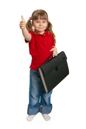 The little girl with a case on white Stock Photo