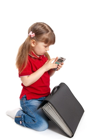 The girl with the calculator on a white background
