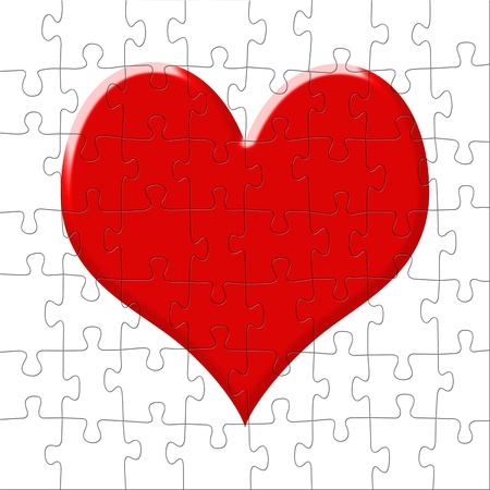 The puzzle representing red heart photo