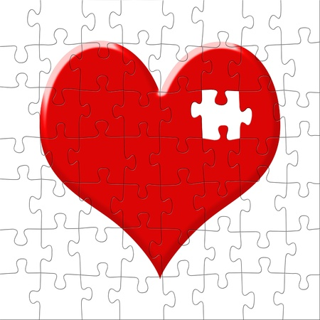 Puzzle in the form of heart with the lost slice photo
