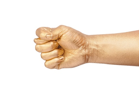 The mans golden hand show a sign fico. Isolated on white  photo