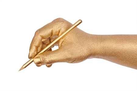 geste: Mans golden hand writes by a pencil. Isolated on the white