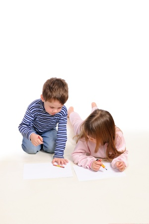Boy with the girl draw. Isolated on the white  photo