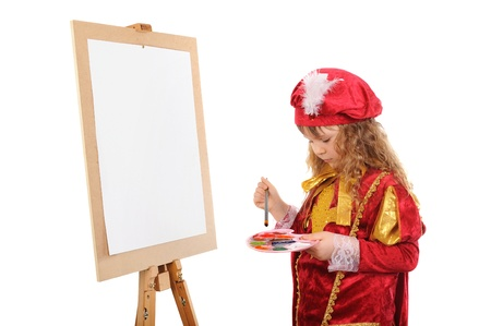 Girl in a red historical suit with a brush near an easel on a white background