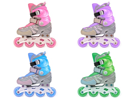 Pack of 4 multicolor childrens roller skates. Isolated on the white.