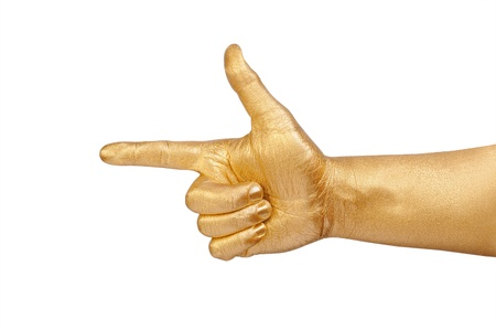 geste: The mans gold hand points a finger. Isolated on white