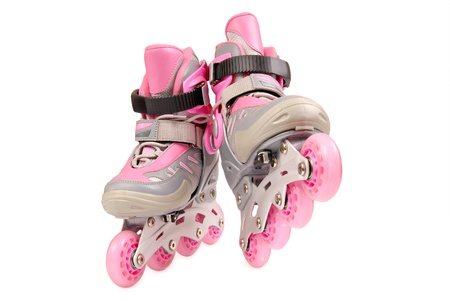 roller blade: Children roller skates isolated on white background Stock Photo