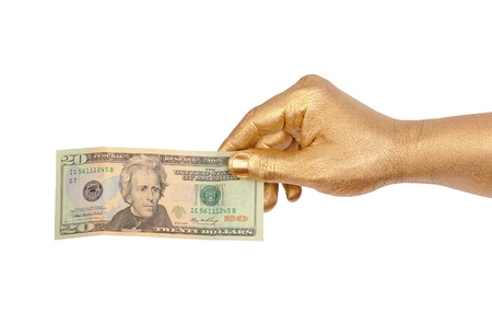 geste: Mans golden hand with a banknote. Isolated on white