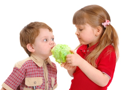 Children eat cabbage on a white background  Stock Photo
