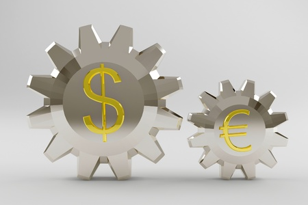 Silvery gear with a big gold dollar and small euro sign. 3d render Stock Photo - 10925108