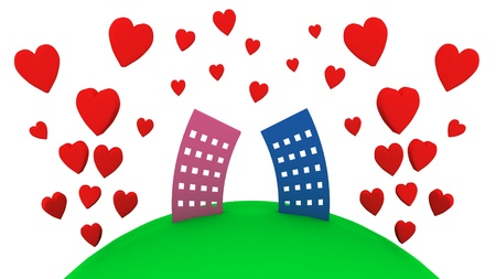 Fun houses and red hearts isolated on the white