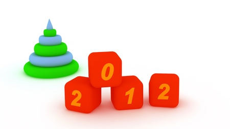 Pyramid and cubes with number 2012. Isolated on the white Stock Photo