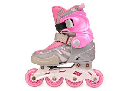 Childrens roller skates. Isolated on the white