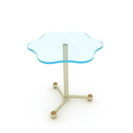 basis: Table with a glass surface. Isolated on the white