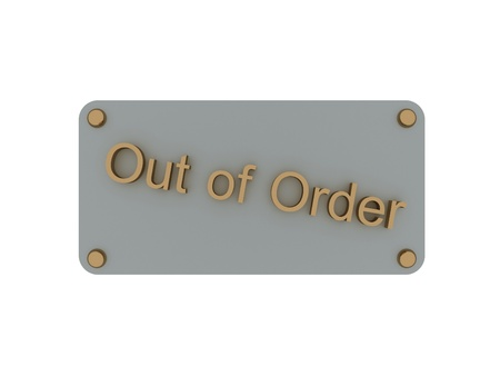 Metal plate with an inscription: out of order photo