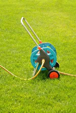 Watering garden hose curtailed into the coil on a green grass