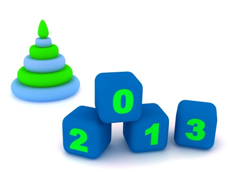 Pyramid and cubes with number 2013  Isolated on the white