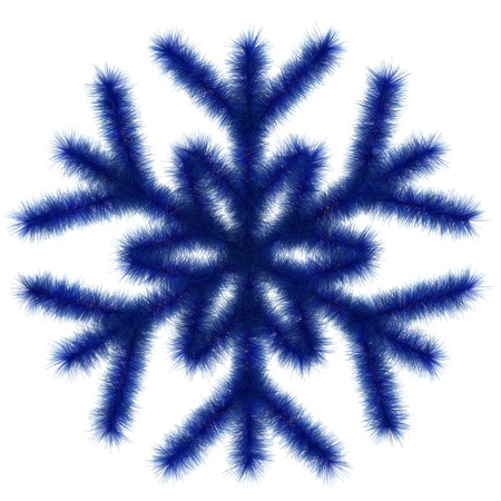 Blue snowflake 3d  Isolated on the white Stock Photo
