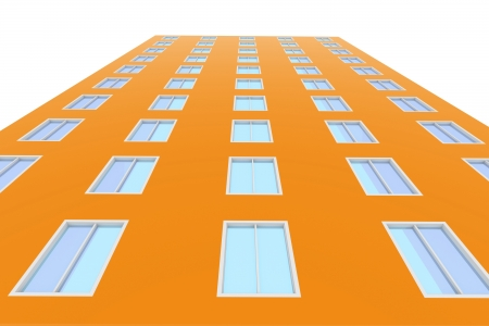 Skyscraper with windows  3d render on a white background photo