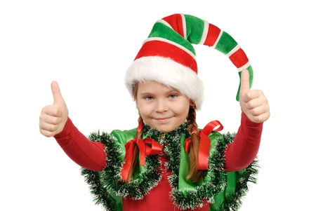 Girl in a suit of elf Santa  Isolated on the white background Stock Photo