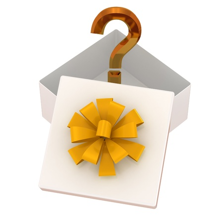 buying questions: White gift box with yellow bow and surprise  Isolated on a white
