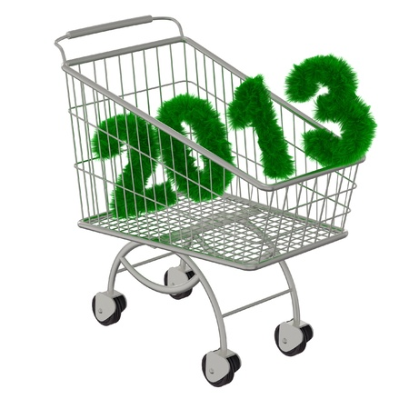 Shopping cart with a 2013 christmas tree font  Isolated on a white