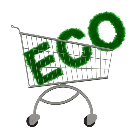 trundle: Inscription ECO in the supermarket cart  Isolated on a white Stock Photo