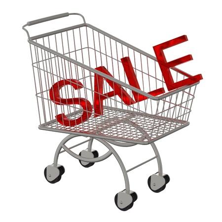 Inscription SALE in the supermarket cart  Stock Photo