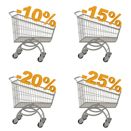 trundle: Set of shopping cart with discount  Minus ten, fifteen, twenty, twenty five percent  Isolated on white