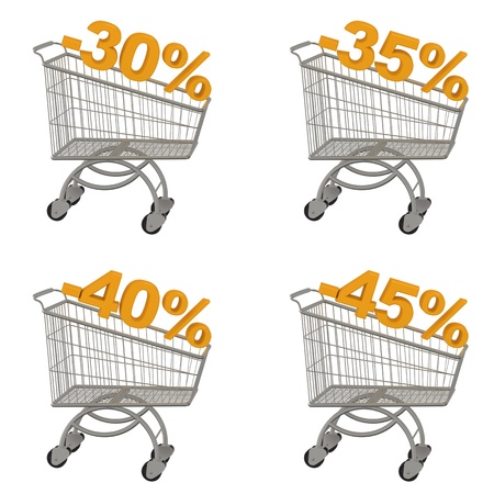 trundle: Set of shopping cart with discount  Minus thirty, thirty five, forty, forty five percent  Isolated on white  Stock Photo