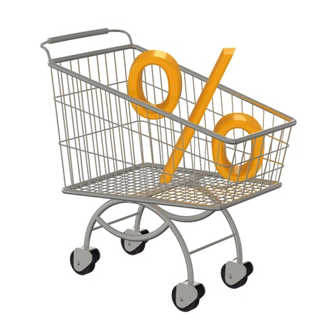 trundle: Shopping cart with golden percent  Isolated on white  Stock Photo