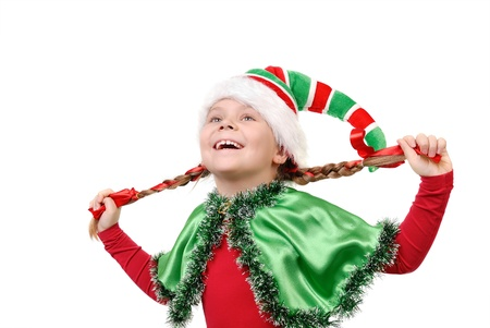 Girl in suit of Christmas elf isolated on a white Stock Photo