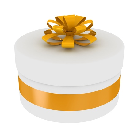 Round gift box with golden bow isolated on a white