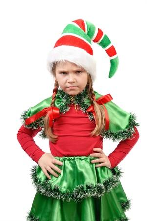 duendes de navidad: La chica poco enojado - duende de Santa s sobre un fondo blanco Foto de archivo