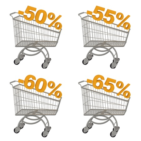 Set of shopping cart with discount  Minus fifty, fifty five, sixty, sixty five percent  Isolated on white