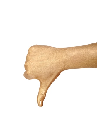 geste: Golden hand shows  thumb down over white Stock Photo