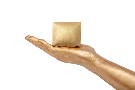 geste: Man s golden hand holding box over white background Stock Photo