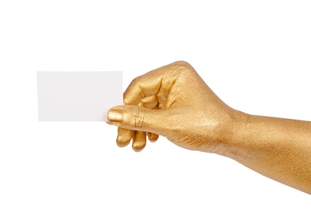 geste: Man s golden hand holding an empty business card