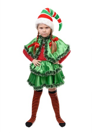 elf: Angry little girl in suit of Santa elf