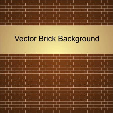 bricklaying: Vector illustration of brown brick wall background Illustration