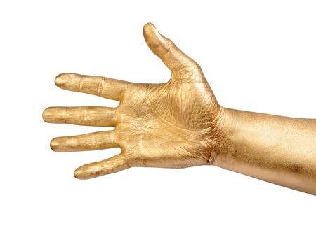 piel humana: Mano masculina oro en gesto de bienvenida. Aislado en el blanco