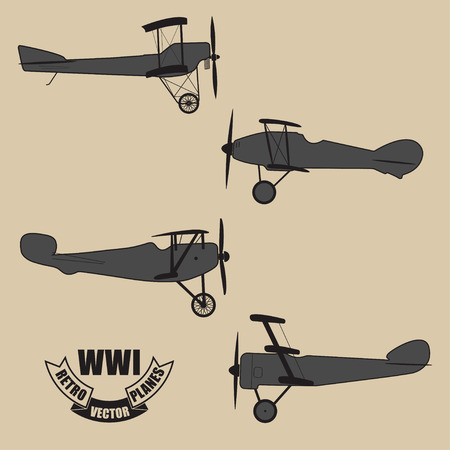avia: Set from 4 vector silhouettes of a retro planes times of World War I Illustration