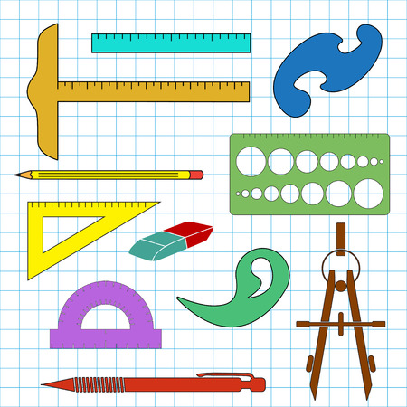cell layers: Set of school drawing accessories on cell background. Separated layers Illustration