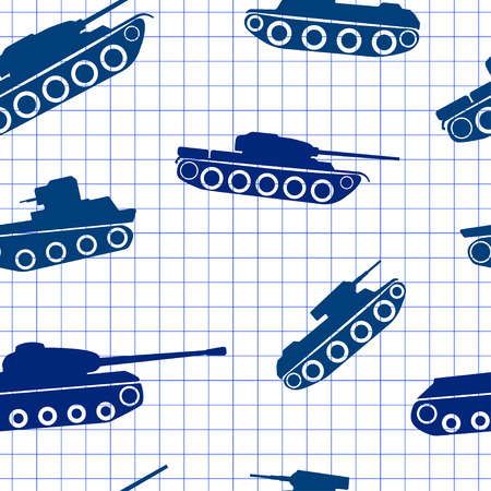 exercise book: Seamless pattern ink silhouettes of tanks on exercise book in a cell.