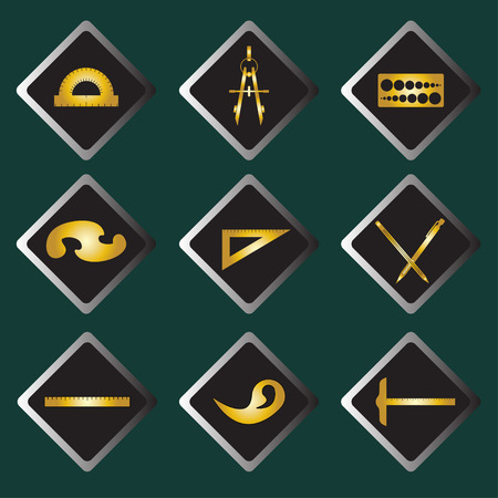 ruling: Set of vector gold icons of drawing accessories on darkly green background