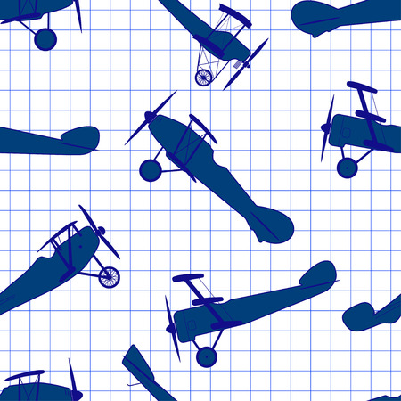 exersice: Seamless pattern from ink retro of planes on cell sheet exersice book.