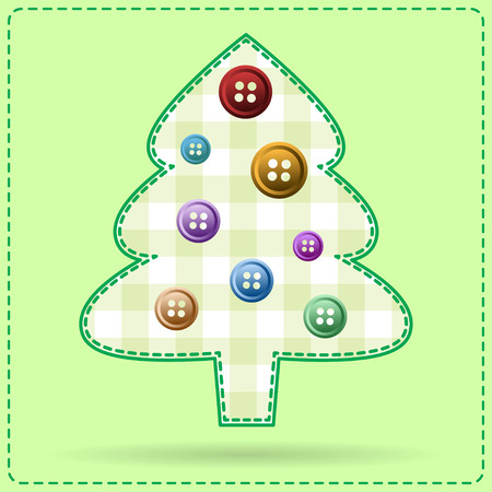 stitching: Vector greeting card with christmas tree dressed with buttons. Stitching style